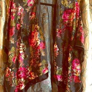 Gorgeous burnt out black velvet kimono top